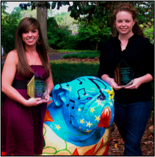 Laura Beth Wrenn and Haley Gowen with their awards from the 2008-09 WxChallenge national forecast contest.