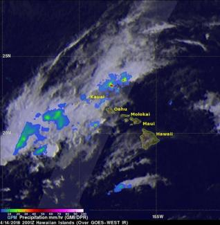 Intense showers detected by the GPM satellite radar on he GPM core observatory satellite flew over Kauai on April 14, 2018 at 10:01 a.m. HST (4:01 p.m. EDT/2001 UTC)