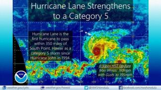 Hurricane Lane at Category 5 strength just to the south of the Hawaiian Islands