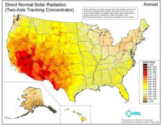 Direct normal solar radiation NREL