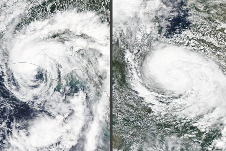 mage on left: Subtropical Storm Alberto at landfall in Florida. Image on the right: Tropical Depression Alberto over Indiana. Courtesy: NASA MODIS
