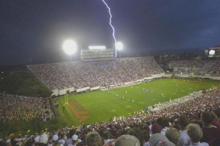 Lightning near a full stadium.NOAA