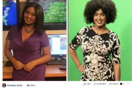Picture of Meteorologist Corallys Ortiz with straight and natural hair.MRS. ORTIZ PUBLIC FACEBOOK PAGE