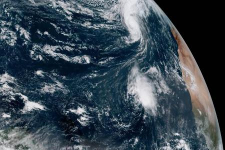 Satellite view of Hurricane Leslie and Tropical Storm Nadine on October 12th, 2018 NOAA