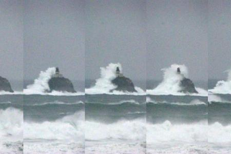 Large wave topping the Tillamook Rock lighthouse in coastal Pacific Northwest.NWS PORTLAND VIA TWITTER