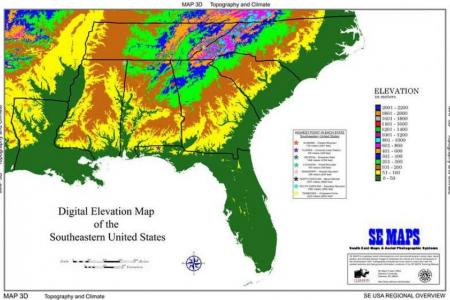 Digital elevation of the South. Source: Clemson University.